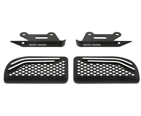 Couvre repose-pieds, aluminium, noir, pour passager passager pour Moto Guzzi MGX 21