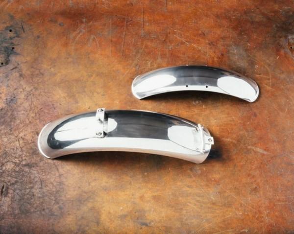 Garde-boue en aluminium, la paire, chromés pour Moto Guzzi V7 I + II, V7 III