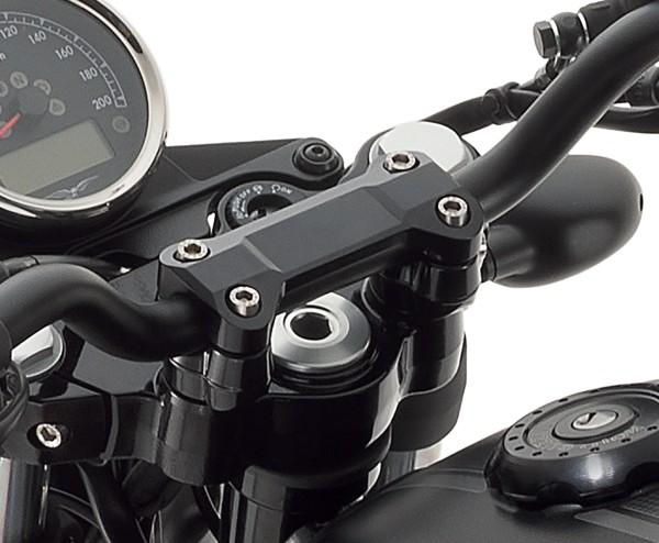 Couvre guidon, aluminium, noir pour Moto Guzzi V7 III