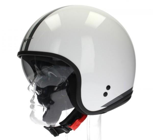 Casque Jet Moto Guzzi, White Stripes, blanc