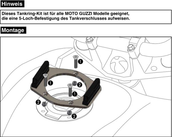 Tankring Lock-it 5 trous de fixation pour V 7 II Classic (Bj.15-16) d'origine Hepco & Becker