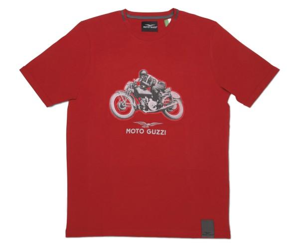 T-shirt garage en coton pour hommes Moto Guzzi rouge
