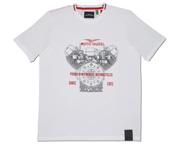 T-shirt homme Moto Guzzi classique coton blanc