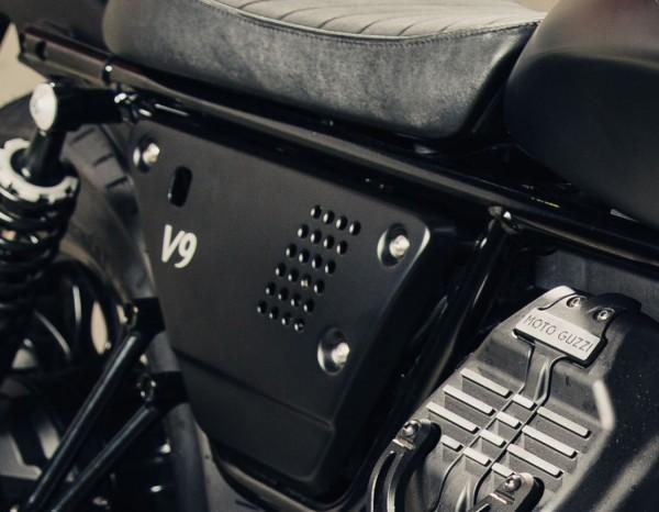 Jeu de caches latéraux en aluminium noir Moto Guzzi V7 III / V9 Bobber