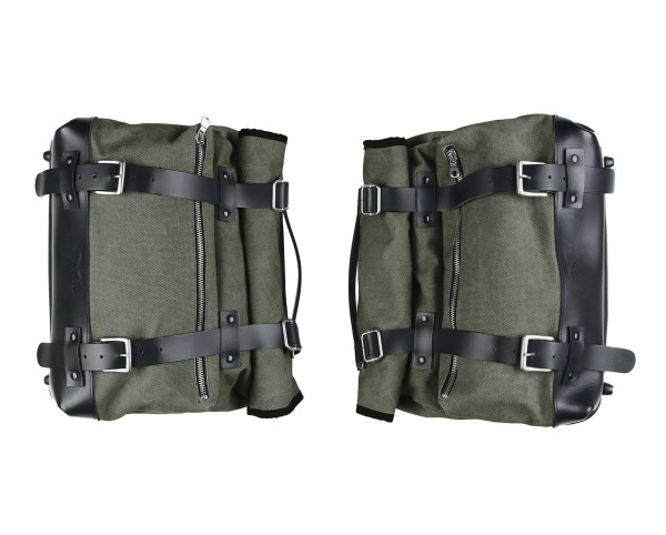 Set de sacoches latérales, vertes, en toile pour Moto Guzzi V9 Roamber / Bobber / V7 850 2021-